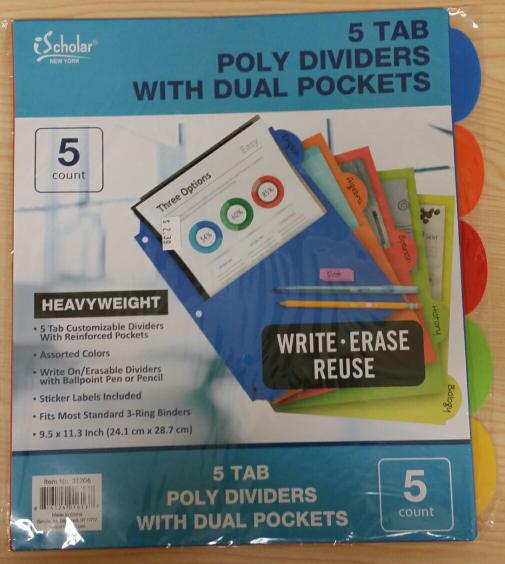 Image For FOLDER POLY DIVIDER W/PCK